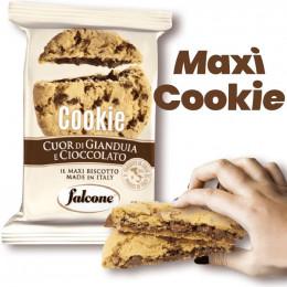 Maxi Cookie Coeur fondant Gianduja et Chocolat Lait - Falcone - Carton de 40 pièces