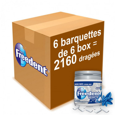 Chewing-gum Freedent White Menthe Forte - Lot de 36 Box 84g - 2160 dragées